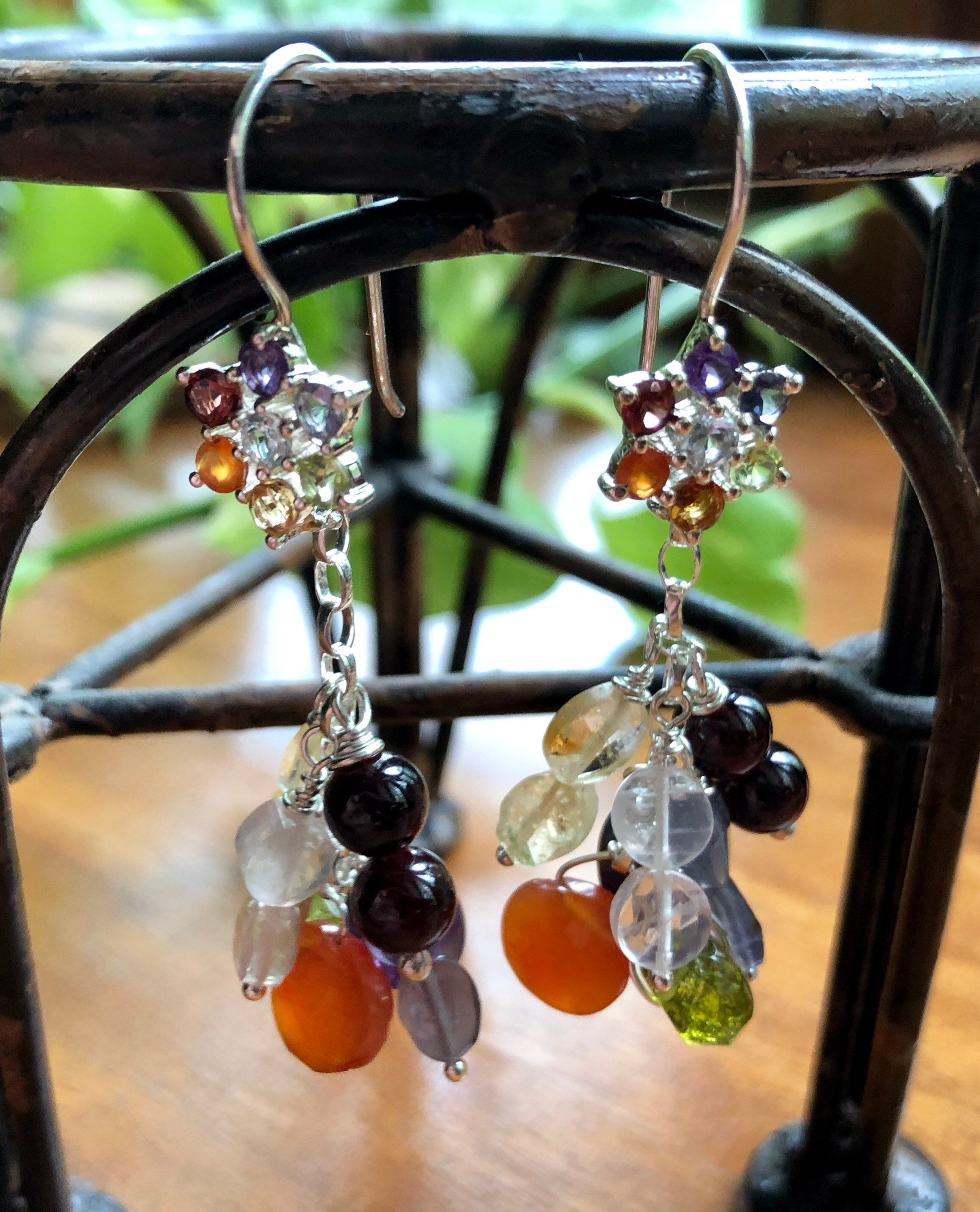 e7cc17537 Chakra Gemstone Handcrafted Earrings, Sterling Silver Floral ...