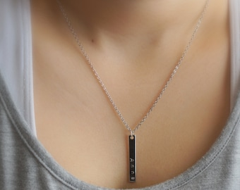143)Hand Stamped Vertical Bar Necklace. Personalized Jewelry