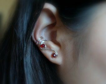 18)Double Spiral Ear Cuff With Beads/Pearls