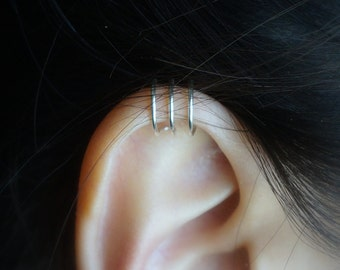 155)No Piercing  Simple Triple Band Ear Cuff For Upper  Cartilage