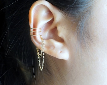 159)Triple Lines With Double Chain Ear Cuff **GOLD**