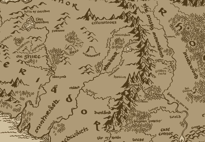 Middle Earth Map Large.X Large Middle Earth Map Cotton Fabric Lord Of The Rings The Etsy