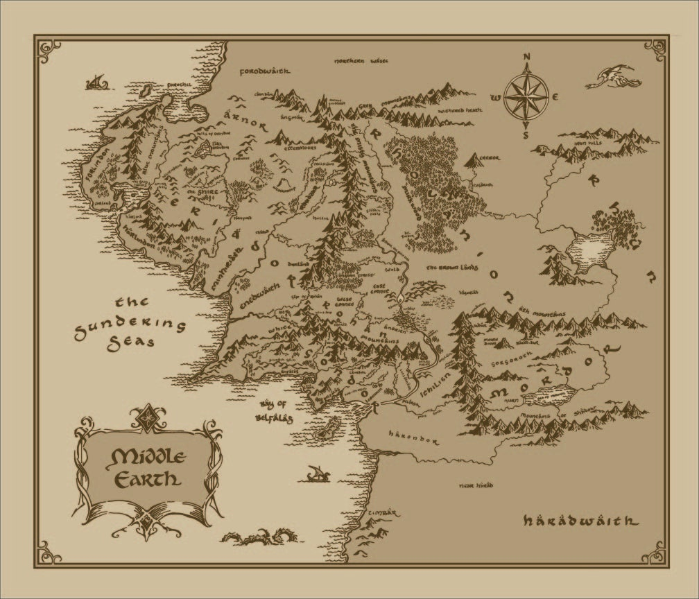 Medium Middle Earth Map cotton fabric: Lord of The Rings The | Etsy