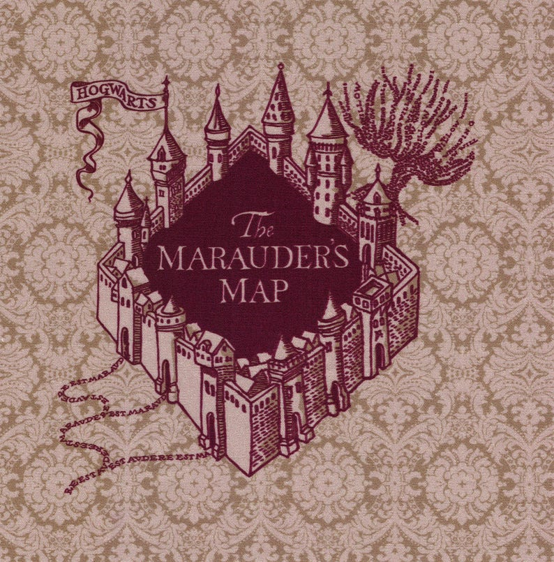 photograph relating to Harry Potter Marauders Map Printable known as The Marauders Map: Harry Potter cloth print