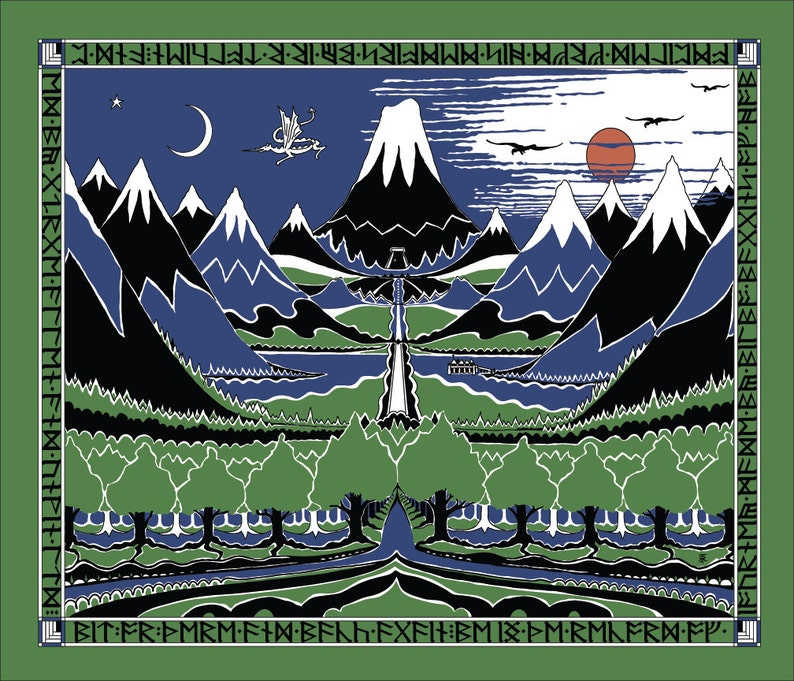 Medium 15x18 The Hobbit Cover cotton fabric: Lord of The image 0