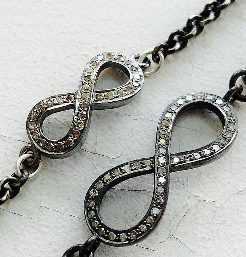 BDSM Jewelry Infinity Bracelet Diamond Infinity Diamond Infinity Bracelet Sterling and Diamonds Infinity Charm BDSM Bracelet