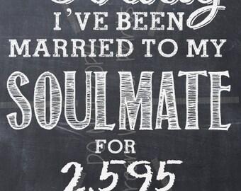 Wedding Anniversary SOULMATE printable chalkboard art LOVE Valentine Birthday