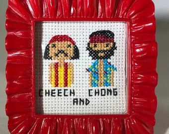 Cheech and Chong Cross Stitch Portrait