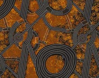 Bush Plum 2, Gold, An Authentic Aboriginal Fabric
