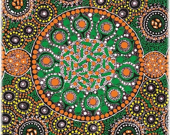 Fresh Life After Rain Green, An Authentic Aboriginal Fabric