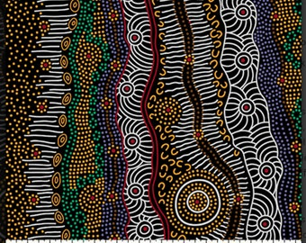 Gathering By the Creek Brown,  An Authentic Aboriginal Fabric