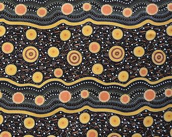 Wild Beans Gold, An Authentic Aboriginal Fabric