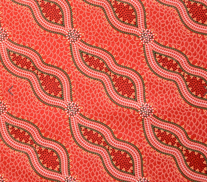 Bush Spinifex Tango Red  An Authentic Aboriginal Fabric image 0