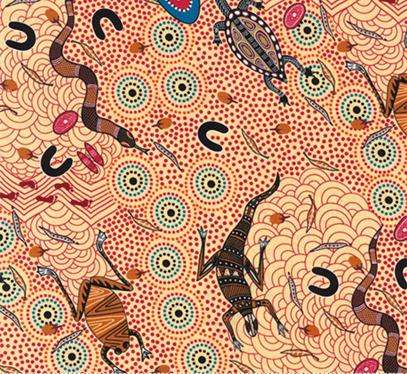 Around Waterhole Ecru An Authentic Aboriginal Fabric image 0