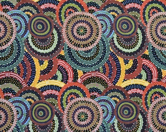 Women's Body Dreaming Black, An  Authentic Aboriginal Fabric