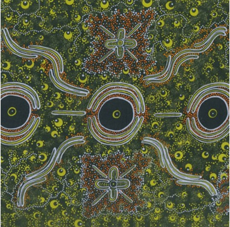 Dreamtime Knowledge Green  An Authentic Aboriginal Fabric image 0