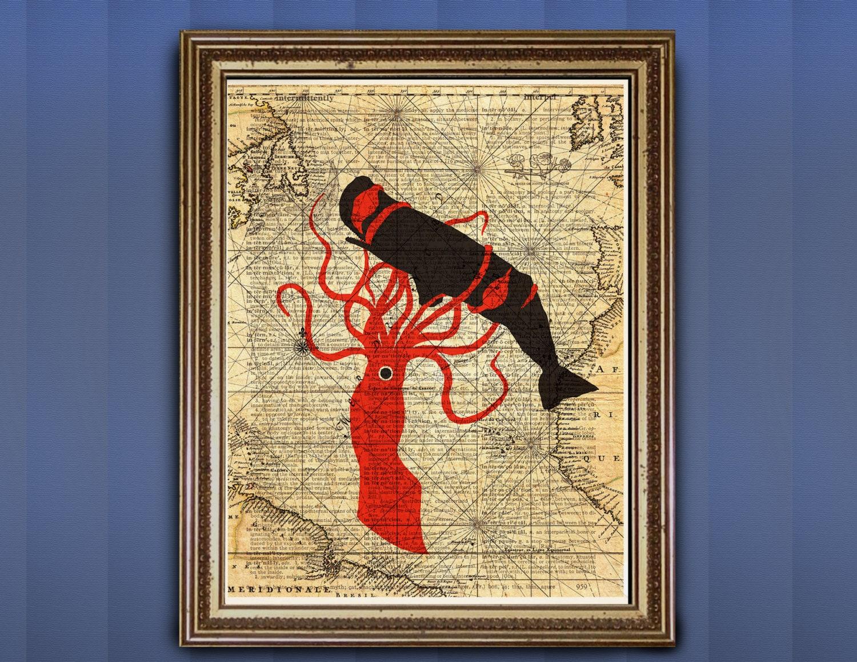 Sea Battle Giant Squid Kraken Sperm Whale Dictionary