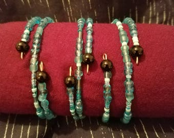 Blue and Black Beaded Wire Bracelet