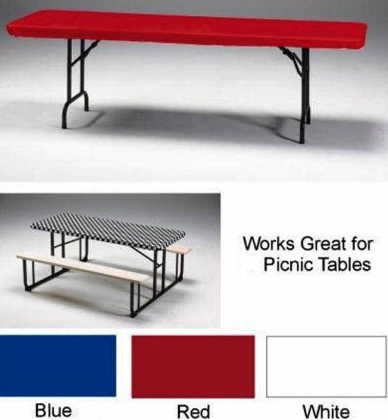 233 & 12 Stay Put® Fitted Plastic Tablecloths Wind Proof Table Covers 8 ft x 30\