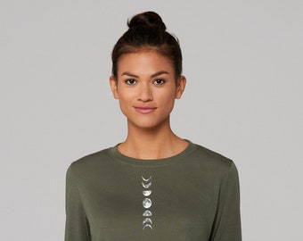 Lunar Phase Long Sleeve Army Green High Low Hem Side Slit Tee, You Choose Design Placement