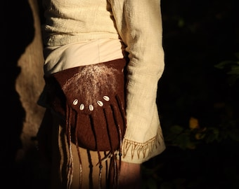 CACAO Felt Tribal Belt /Pocket in Dark Chocolate Brown in Merino Wool with Fringes //Cowries Shell// Lace //Beads //Bohemian Belt