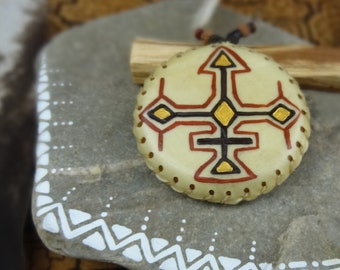 AMAZONIAN SPIRIT .:.Small Hand Disc Shaker/Shipibo Design//Deer Rawhide Shaker//Shaker/Spirit Instrument/Shaman//Palm Rattle//Amulet Shaker