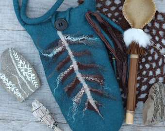 TURQUOISE FEATHER Bag for your Rattle made in Merino Wool// Button//Shaman Bag//Sacred Space//Rattle Bag