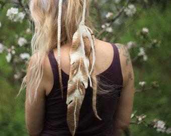 Single SPIRIT FEATHER Felt Hair Tie in Merino Wool-Mulberry Fibers-Feather Hair Hat Accessories Boho-Gypsy-Shaman Fashion Handmade with Love