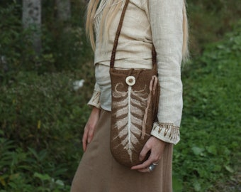 FEATHER BAG.:. Light Earth Brown Felted Bag for your Rattle made in Merino Wool//Silk Fibers//Deer Antler Button//Shaman Bag//Sacred Space