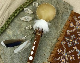 MOON RATTLE.:.Spirit Rattle//Rawhide//Painted Leather//Natural Feathers//Rabbit Fur//Fringes//Ceremonial/Sacred Music//Shamanic Meditation