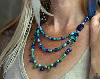 DEEP SKY/Turquoise Lapis Lazuli Sodalite Triple Necklace/Shaman//Turquoise Necklace//Goddess Jewelry//Tribal