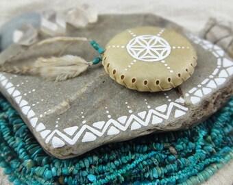 HARMONIZE .:.Small Hand Disc Shaker/Seed of Life//Deer Rawhide Shaker//Shaker/Spirit Instrument/Shaman//Ceremony//Palm Rattle//Amulet