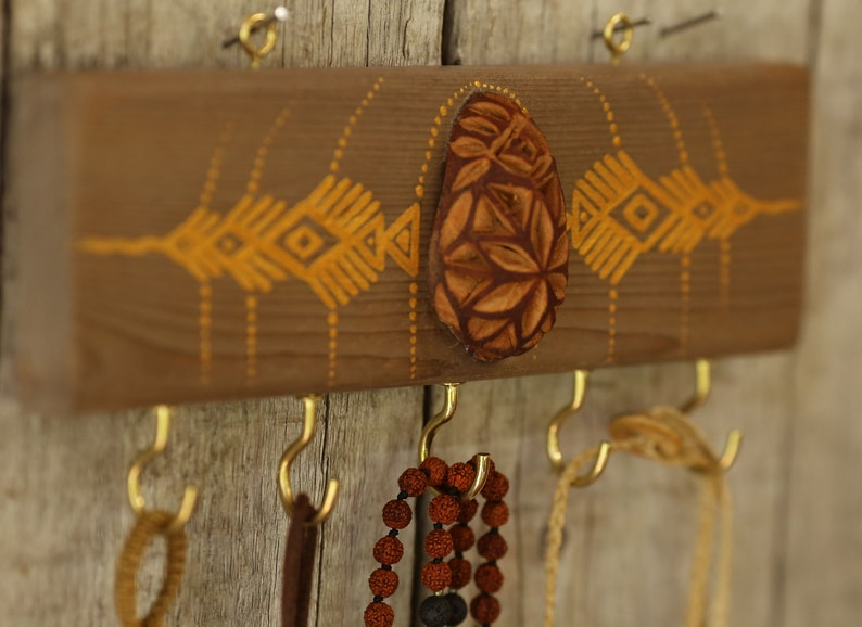 Golden Avocado Seed Hanger for Keys/Jewelry in Wood/Avocado Seed  Art//Tribal Viking Painting//Jewelry Rack//Keys Rack//Rustic Wall Wood Art