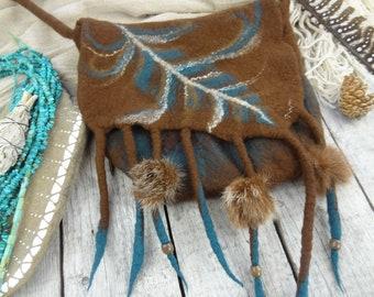 LIBERTY BAG.: Felt Tribal Spirit BLUE Feather Bag//Dark Brown Merino Wool with Silk Fibers//Fringed Bag//Medicine Bag/ Lightworker