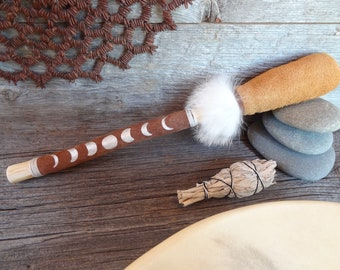 MOON Drum Beater .:. Moon Cycle design//Wood//Painted Leather//Fur/Percussion//Shamanic//Tribal//Native Drum
