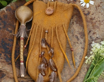 CEREMONY BAG.: Felted Bag with Feathers for your Rattle made in Ochre Merino Wool// Bamboo Fibers//Shaman//Sacred Space//Rattle Bag