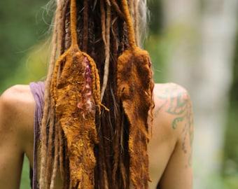 Sundance Feathers Necklace in Fiery Colors made in Merino Wool //Hemp Fibers //Felt Feathers// Hair Ties