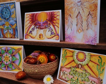 Art Prints from my original Paintings//Friends Cards//Sol Mundo Art//5 Gift Cards Pack with Envelopes // Visionary // Shamanic // Sacred Art
