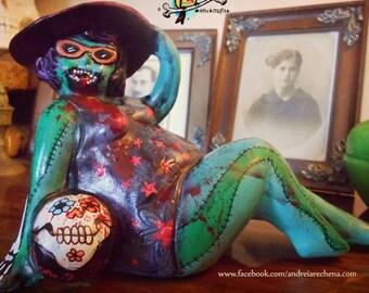 Zombie Pinup Beach Ball Lady