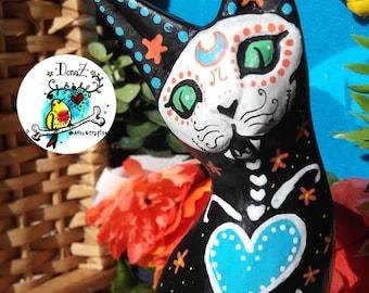 Sugar Skull Cat Day of the Dead Blue Portuguese Heart