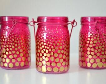 Painted Glass Jar, Jar Vase, Jar Centerpiece, Colorful Painted Jar, Decorated Jar, Home Decor, Window Decor, Wedding Decor, Homewarming Gift