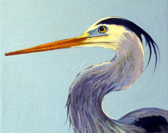 Great Blue Heron paintings waterbirds beach art original heron blue