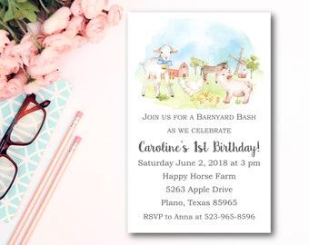 Farm Birthday Invitation Girl- Barnyard Birthday Invitation- Farm Party