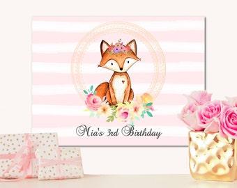 "Woodland Birthday Backdrop- Fox Birthday Backdrop- Cake Table Backdrop- 36""x48"""