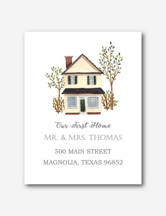 Moving announcement card New address announcement card First home Set of 12 Flat Cards