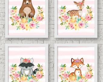 Woodland Nursery Prints- Woodland Nursery Art- Woodland Nursery Decor Girl