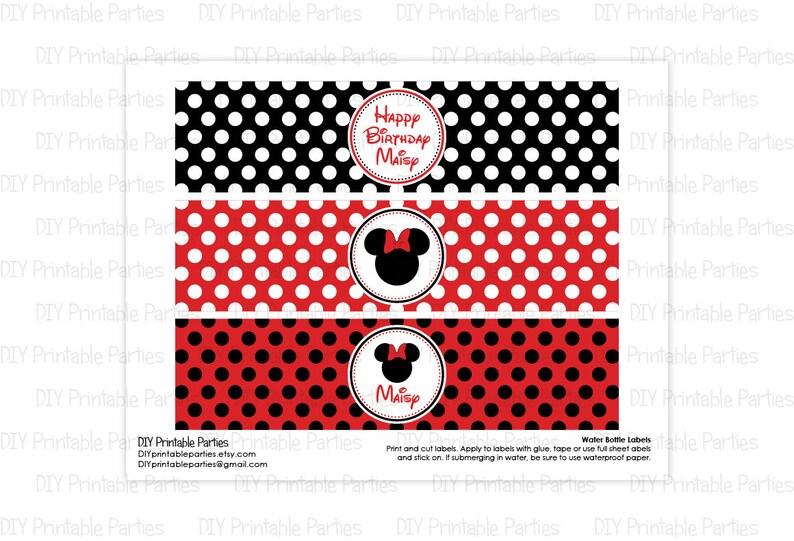 a0a13f16c Etichette stampabili fai da te nero e rosso Minnie Mouse tema