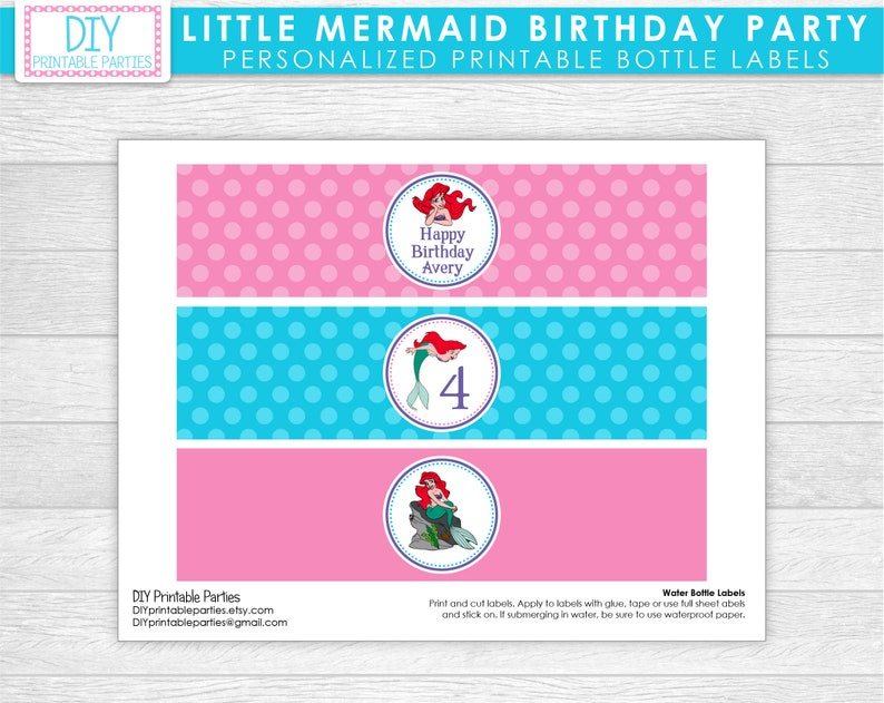 Printable DIY Blue and Pink Little Mermaid Ariel Theme Personalized Happy Birthday Water Bottle Labels