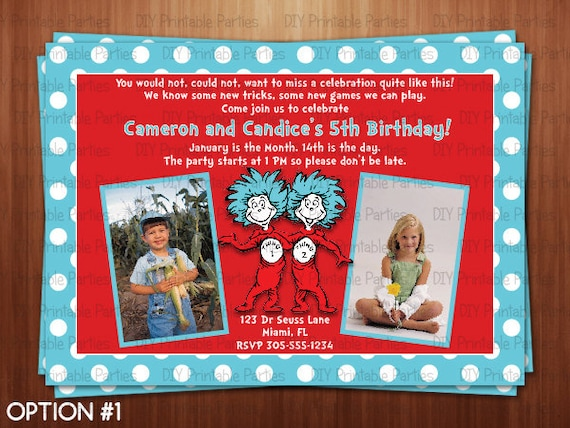 Printable DIY Blue And Red Dr Seuss Thing 1 2 Twins