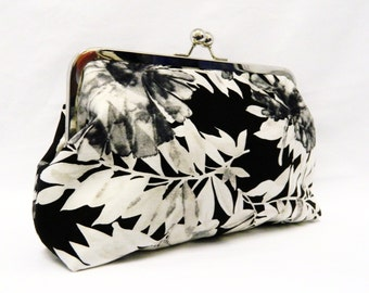 Black and White Floral Clutch Purse, Wedding Clutch Purse, Evening Clutch Purse, Clutch purse, Floral Clutch